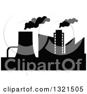 Clipart Of A Black Silhouetted Refinery Factory 24 Royalty Free Vector Illustration