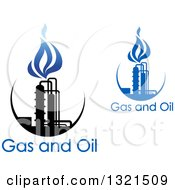 Clipart Of A Black And Blue Natural Gas And Flame Designs With Text 11 Royalty Free Vector Illustration