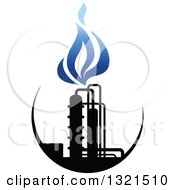 Clipart Of A Black And Blue Natural Gas And Flame Design 10 Royalty Free Vector Illustration