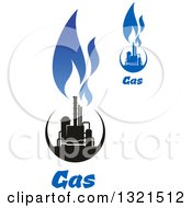 Clipart Of A Black And Blue Natural Gas And Flame Designs With Text 10 Royalty Free Vector Illustration