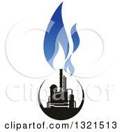 Clipart Of A Black And Blue Natural Gas And Flame Design 11 Royalty Free Vector Illustration