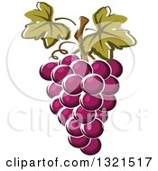 Clipart Of Cartoon Purple Grapes Royalty Free Vector Illustration by Vector Tradition SM