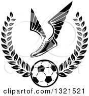 Clipart Of A Black And White Winged Soccer Cleat Shoe Over A Ball In A Wreath Royalty Free Vector Illustration