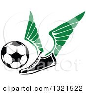 Clipart Of A Winged Soccer Cleat Shoe Kicking A Ball Royalty Free Vector Illustration by Vector Tradition SM