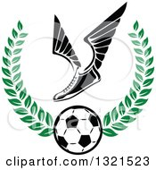 Clipart Of A Winged Soccer Cleat Shoe Over A Ball In A Green Wreath Royalty Free Vector Illustration