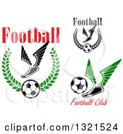 Clipart Of Winged Soccer Cleat Shoes And Balls With Text Royalty Free Vector Illustration