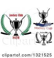 Clipart Of Hockey Trophies Pucks And Sticks Royalty Free Vector Illustration