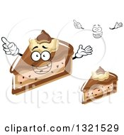 Clipart Of A Cartoon Face Hands And Slices Of Chocolate Cheesecake Royalty Free Vector Illustration