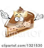 Clipart Of A Cartoon Chocolate Cheesecake Character Holding Up A Finger Royalty Free Vector Illustration