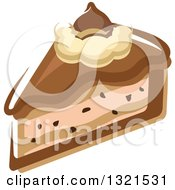 Clipart Of A Cartoon Chocolate Cheesecake Slice Royalty Free Vector Illustration