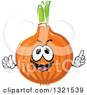 Clipart Of A Cartoon Yellow Onion Character Giving A Thumb Up Royalty Free Vector Illustration