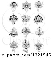 Clipart Of A Black And White Henna And Lotus Flowers 14 Royalty Free Vector Illustration