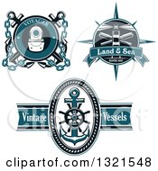 Clipart Of Blue Nautical Lighthouse Diving Helmet Anchor And Helm Logos With Sample Text Royalty Free Vector Illustration