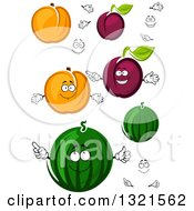 Clipart Of Cartoon Apricot Plumb And Watermelon Characters Royalty Free Vector Illustration