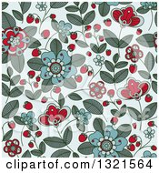 Clipart Of A Seamless Background Pattern Of Doodled Strawberry Blossoms Plants And Berries Over Blue 2 Royalty Free Vector Illustration