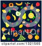 Clipart Of Flat Design Fruits On Navy Blue Royalty Free Vector Illustration