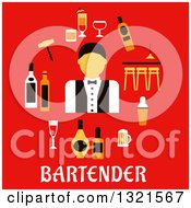 Clipart Of A Flat Design Of A Male Bartender With Accessories Over Text On Red Royalty Free Vector Illustration by Vector Tradition SM