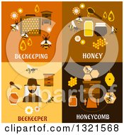 Clipart Of Beekeeping And Bee Flat Designs Royalty Free Vector Illustration by Vector Tradition SM