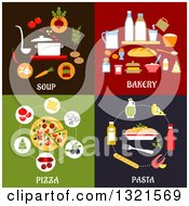 Clipart Of Soup Bakery Pizza And Pasta Flat Designs Royalty Free Vector Illustration