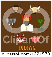 Clipart Of A Flat Design Indian Man With Animals And A Lotus Flower Over Text On Brown Royalty Free Vector Illustration