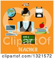 Clipart Of A Flat Design Of A Female Teacher With Accessories Over Text On Orange Royalty Free Vector Illustration by Vector Tradition SM