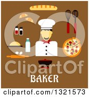 Clipart Of A Flat Design Of A Male Baker With Food Over Text On Brown Royalty Free Vector Illustration by Vector Tradition SM