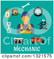 Clipart Of A Flat Design Of A Male Mechanic With Accessories Over Turquoise Royalty Free Vector Illustration