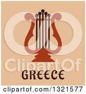 Flat Design Lyre Instrument Over Greece Text On Tan