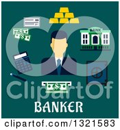 Clipart Of A Flat Design Of A Male Banker With Accessories Over Text On Teal Royalty Free Vector Illustration