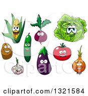 Clipart Of Cartoon Corn Beet Cabbage Potato Cucumber Egplant Tomato Yellow Onion And Garlic Characters Royalty Free Vector Illustration