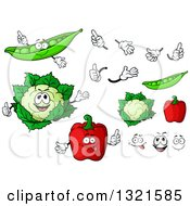 Clipart Of Cartoon Pea Cauliflower And Red Bell Pepper Characters Faces And Hands Royalty Free Vector Illustration