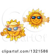 Clipart Of Cartoon Sun Characters Wearing Shades And Sun Visor Hats Royalty Free Vector Illustration