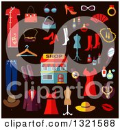 Clipart Of Flat Design Clothes And Accessories Royalty Free Vector Illustration