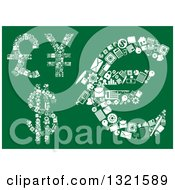 Clipart Of Dollar Euro Pound And Yen Currency Symbols Made With Tiny White Icons On Green Royalty Free Vector Illustration