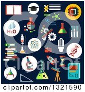 Clipart Of Science Flat Design Icons On Navy Blue Royalty Free Vector Illustration