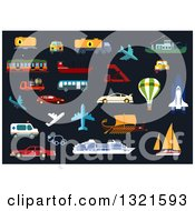 Clipart Of Flat Design Vehicles And Other Modes Of Transportation Royalty Free Vector Illustration