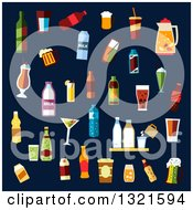 Clipart Of Flat Design Beverages And Cocktails Over Navy Blue Royalty Free Vector Illustration by Vector Tradition SM