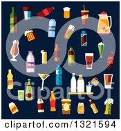 Poster, Art Print Of Flat Design Beverages And Cocktails Over Navy Blue