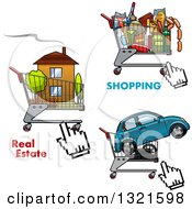 Clipart Of Shopping Carts And Cursors With A House Car And Groceries Royalty Free Vector Illustration by Vector Tradition SM