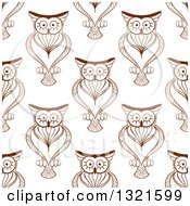 Clipart Of A Seamless Background Pattern Of Brown Sketched Owls 2 Royalty Free Vector Illustration