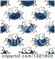Clipart Of A Seamless Background Pattern Of Happy Blue Spiders Royalty Free Vector Illustration by Vector Tradition SM