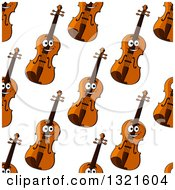 Clipart Of A Seamless Background Pattern Of Happy Violins 2 Royalty Free Vector Illustration