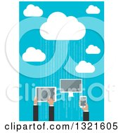 Clipart Of A Flat Design Cloud Server With People Using A Computer Tablet And Smart Phone Over Blue With Binary Royalty Free Vector Illustration