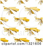 Clipart Of A Seamless Background Pattern Of Yellow Origami Paper Wasps Royalty Free Vector Illustration by Vector Tradition SM