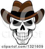 Cartoon Grinning Human Skull Wearing A Cowboy Hat