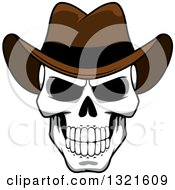 Cartoon Grinning Human Skull Wearing A Cowboy Hat