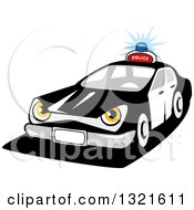 Clipart Of A Cartoon Tough Police Car Character Royalty Free Vector Illustration