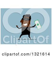 Clipart Of A Flat Design Black Male Robber Holding Up Cash On A Blue Background Royalty Free Vector Illustration