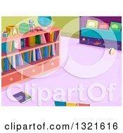 Clipart Of A Library Room Interior With Books On Shelves Royalty Free Vector Illustration