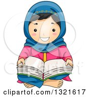 Clipart Of A Happy Muslim Girl Sitting On The Floor And Reading The Quran Royalty Free Vector Illustration
